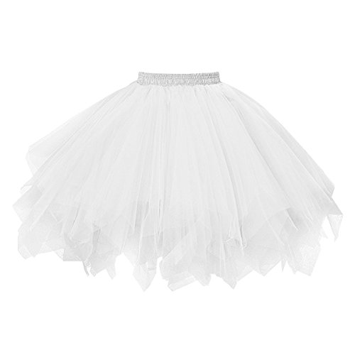 Topdress Women's 1950s Vintage Tutu Petticoat Ballet Bubble Skirt (26 Colors) White -