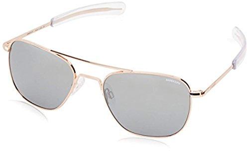 Randolph Spectrum Glass 22k Aviator Polarized Bayonet Sunglasses Mirror Ar Silver Rose Fl Gold rTqr560x