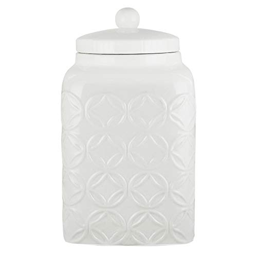 American Atelier Canister Ceramic Chic Design with Lid for Cookies, Candy, Coffee, Flour, Sugar, Rice, Pasta, Cereal & More (Ceramic White Jar)