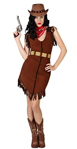 Ladies Brown Cowgirl Cowboys & Indians Wild West Western Carnival Hen Night Fancy Dress Costume Outfit UK 8-18 (UK -