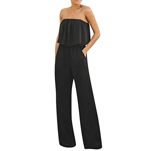 Aniywn Jumpsuits for Women, Ladies Summer Sleeveless Backless Loose Long Rompers Strapless Beach Wide Playsuits Black