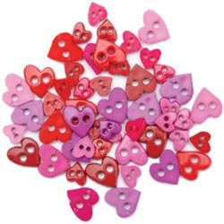 Bulk Buy: Blumenthal Lansing Favorite Findings Mini Shaped Buttons Colorful Hearts 49/Pkg 55000MIN-1395 (6-Pack)