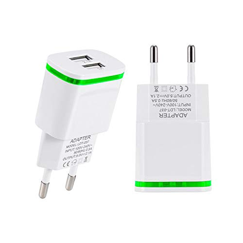 r, USINFLY 2.0A/5V Europe Travel Power Adapter Dual USB Wall Charger Converter for iPhone X/8/7/6 Plus, Samsung, HTC, Moto, LG, More Android Cell Phone (2-Pack) ()