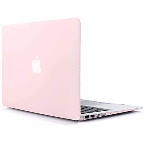 iDOO Matte Rubber Coated Plastic Hard Case for MacBook Air 11 inch Model A1465 and A1370 - Rose (11 Inch Apple Case)