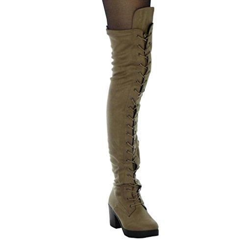 Angkorly Women's Fashion Shoes Thigh Boot - Cavalier - Platform - Soft - Laces - Finish topstitching seams Block High Heel 7.5 cm Khaki AcPMEK