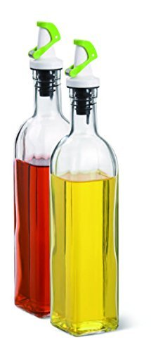 Elemental Kitchen Glass Oil and Vinegar Bottles Cruet Set with Automatic  Open Pourers (green) by Elemental Kitchen