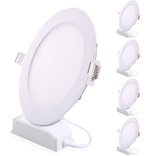 ProGreen Pack of 5 Units 6W Flat LED Panel Light, Dimmable Round Ultrathin LED Recessed Downlight, 480lm, Cold White 5000K, Cut Hole 4.1 Inch, Panel Ceiling Lights with 110V LED Driver ()