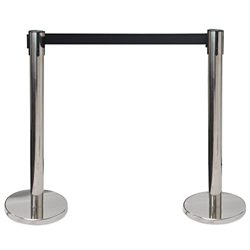 3-foot Crowd Control Stanchions with 6.25-foot Retractable Belt by Pudgy Pedro's Party Supplies (Silver) (Control Crowd)