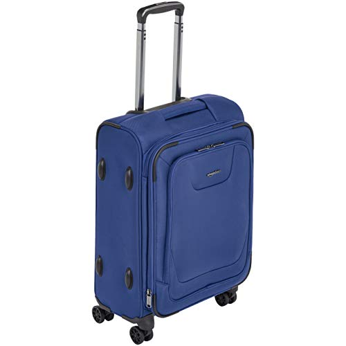 AmazonBasics Premium Expandable Softside Spinner Luggage With TSA Lock- 21 Inch, Blue