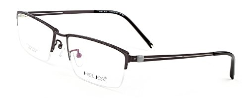 Heles Unisex Fashionable 100% Pure Tianium Half Rim Optical Frame Eyeglasses Grey 5517145