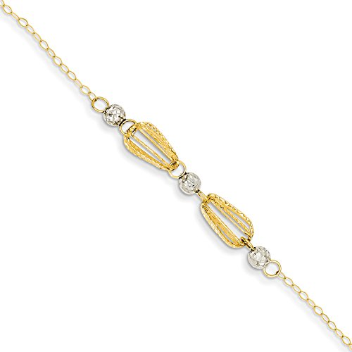 [14k Two-tone Gold Diamond Cut Teardrop Cages & Bead w/ 1in Ext Anklet ANK273-9] (Diamond Cut Teardrop Beads)