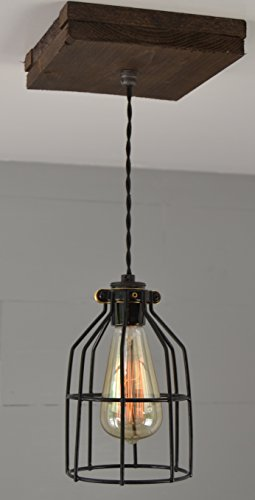 West Ninth Vintage Flushed Wood Pendant Farmhouse Light