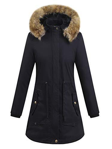 YYZYY Femme  Capuche Manteau Hiver Chaud pais Fourrure avec Capuche Rembourre Veste Women Warm Winter Hooded Parka Coat Long Jacket T5-noir