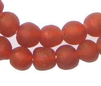 African Recycled Glass Beads - Full Strand Eco-Friendly Fair Trade Sea Glass Beads from Ghana Handmade Ethnic Round Spherical Tribal Boho Krobo Spacer Beads - The Bead Chest (14mm, Light Red)
