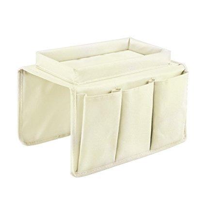 Organizador Yunqi ideal para colocar en el apoyabrazos del sofá, con portavasos, bandeja y bolsillos amplios beige: Amazon.es: Hogar