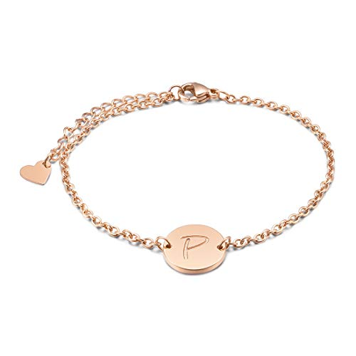 THREE KEYS JEWELRY Rose Gold Tone Initial P Bracelet 316L Stainless Steel Disc Pendant Heart with Letter Alphabet for Womens and Girls(6.5