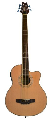 5 String Cutaway Natural Acoustic Electric Bass Guitar with 4 EQ - Free Lessons - & DirectlyCheap(TM) Blue Medium Guitar Pick ()