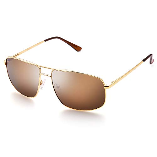 LotFancy Polarized Aviator Sunglasses for Men, Rectangular Brown Lens, Metal Frame, Ultra Lightweight, UV400 - Bronze Sunglass Shades Lens