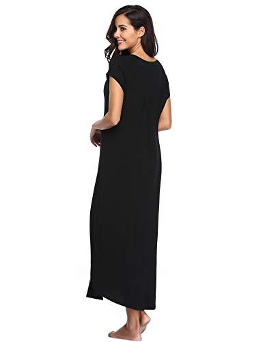 ede8827349 Lusofie Nightgowns for Women Long Sleeve Sleepshirt Soft Knit Full Length  Sleepwear