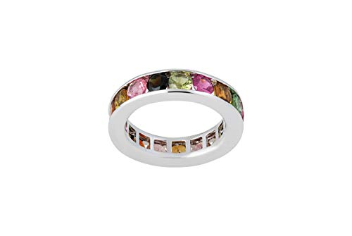 - Diamond Princess Beautiful 3.00 Carat Round Shaped Natural Tourmaline Multi-Color Ring Band in 925 Sterling Silver (6)