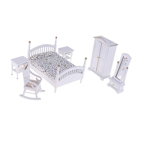 Fityle European 1/12 White Wooden Bed Wardrobe Chair Table Mirror Model Furniture for Dolls House Bedroom Decor Accessories ()