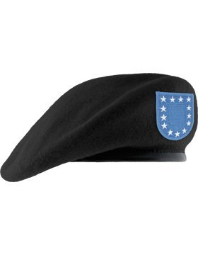 Fitted Black Unlined Beret Leather Sweatband with Army Flash (6 7/8) by TheSupplyRoom (Image #1)