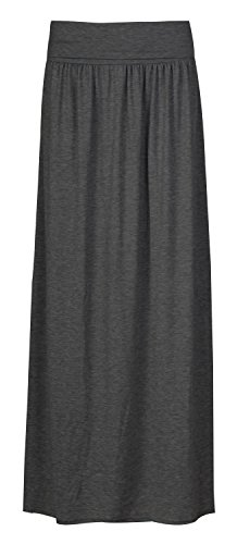 Forever Womens Plain Folded Waist Gypsy Style Full Length Maxi - Jersey Length
