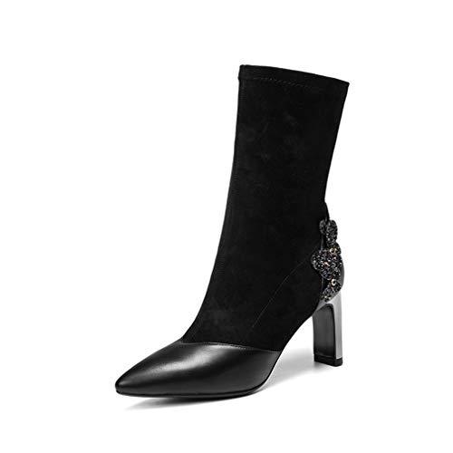 Zapatos Fiesta Botas Y Para Lentejuelas Mujer Negro Yan Alto Rhinestone Con Áspero Cuero Invierno Otoño Altos Botines Tacones Vestir De Tobillo Uwd1nqTa