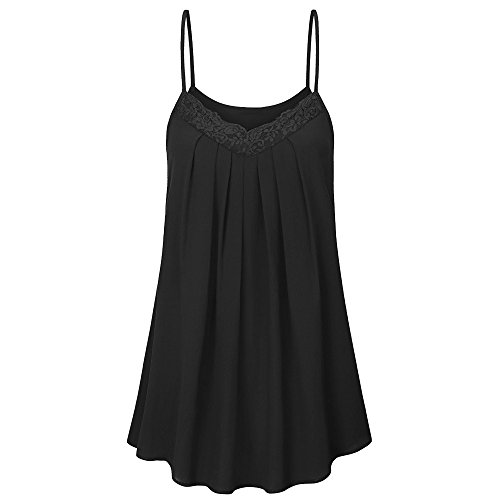 Camis for Women, TWinmar Fashion Women Blouse Casual Sleeveless V-Neck T-Shirt Lace Ruched Tank Top Black