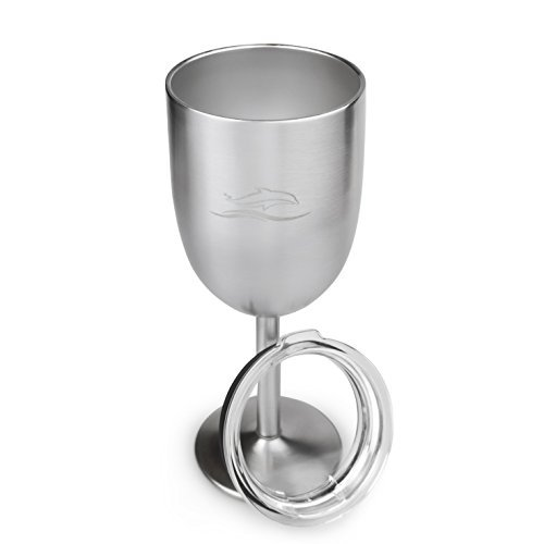 Insulated Wine Glass Tumbler with Lid - Stainless Steel - 12oz - Unbreakable Insulated Wine Glasses (Monogrammed Fusion)