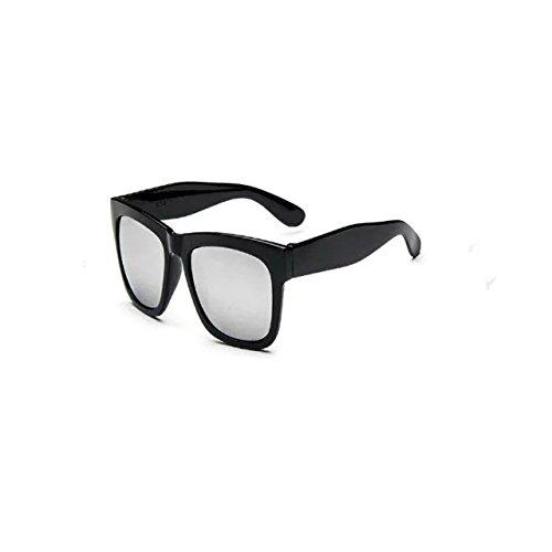 Garrelett Color Mirror Lens Large Square Horn Rimmed Sunglasses Reflective Sun Eyewear Eyeglasses Black Frame White Lens for