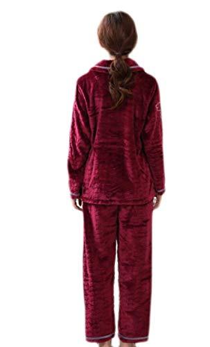 Manga Pijama Pijamas Pantalón Franela Y Ropa Rojo Lujo Trajes Warm Larga Mujeres De Red Soft Conjunto xIIpOA
