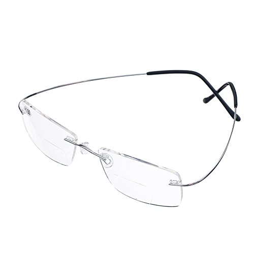 Bi Tao Super Light 100% Titanium Bifocal Reading Glasses Men Women Fashion Rimless Reading Eyeglasses + Eyewear Case(Silver,+3.00) -