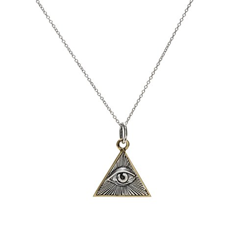 Evil Eye of Providence Necklace Pendant in Sterling Silver by