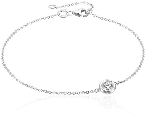 14k White Gold Solitaire Bezel Set Diamond with Lobster Clasp Strand Bracelet (1/3cttw, J-K Color, I2-I3 Clarity)