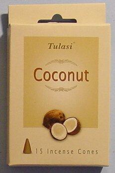 Coconut, Tulasi Incense Cones, Two Boxes Of 15 Cones (Tulasi Cone)