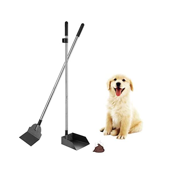 SCENEREAL Pet Poop Tray & Spade Set Dog Cat Waste Removal Scoop with 37.4″ Long Handle