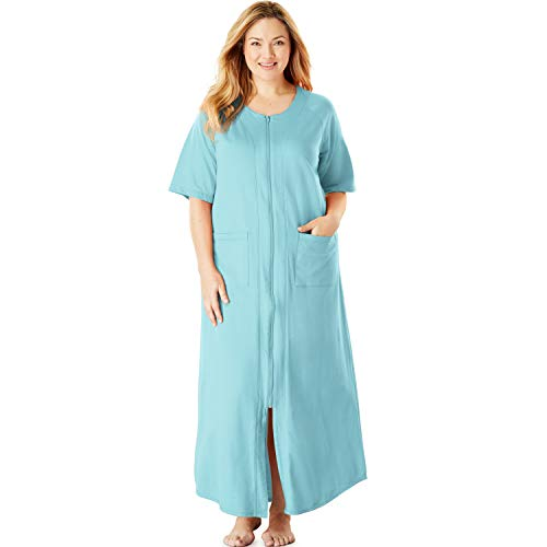 Dreams & Co. Women's Plus Size Long French Terry Zip-Front Robe - Bright Aqua, 1X