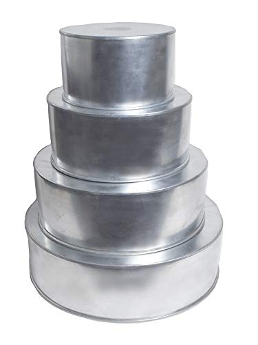 "Round Multilayer Wedding Birthday Cake Baking Pan Set of 4 Cake Pans (4"" Deep)"