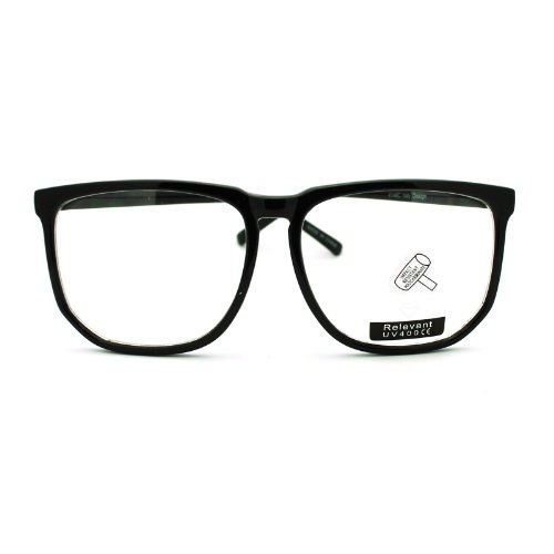 d8fb9a577b Large Square Clear Lens Black Frame Wayfarer Nerd Glasses 03 BuyinCoins - Buy  Online in Oman.