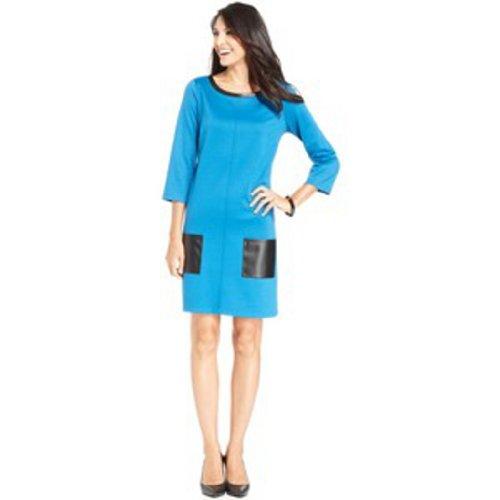 Sunny Leigh Dress, Three-Quarter-Sleeve Faux-Leather Shift Size: Medium - Sunny Skirts Leigh