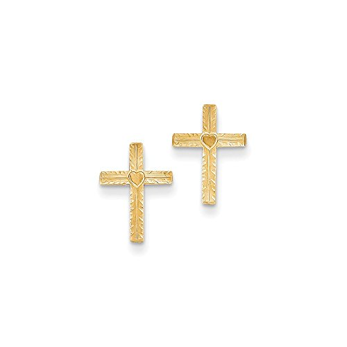 - 14k Gold Post Cross Earrings w/Heart Center (0.51 in x 0.39 in)