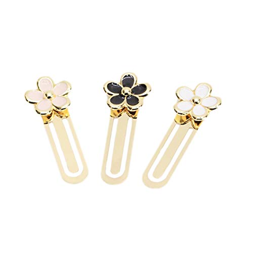 TOOGOO 3 pezzi Clip daisy Mini segnalibro in metallo Fiore classico segnalibro Ufficio di cancelleria Materiale scolastico segnalibro