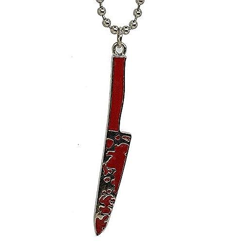 313fae30cc89 vonchic daga cuchillo colgante Dog Tag cadena bola Bead collar plata acero  inoxidable Caliente de la