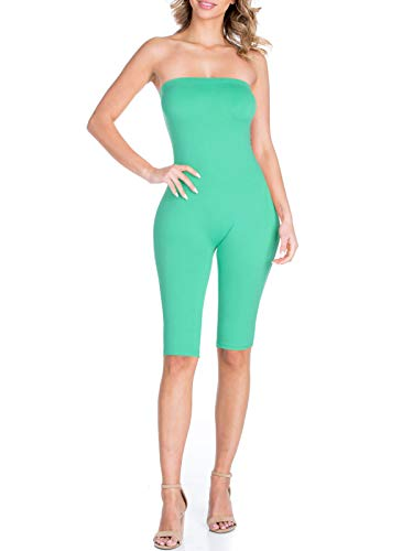 BEYONDFAB Women's Bikers Short Pants Tube Jumpsuit One Piece Short Catsuit Mint S