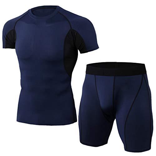 Men's Sports Compression Fast Drying Elastic Fitness T-Shirt Tops+Short Pants Sports Tight Suit Beautyfine Navy (Tight Sport Compression Tops)