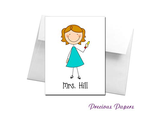 Personalized Teacher stick figure note cards make a great teacher gift for Teacher Appreciation or end of year ()