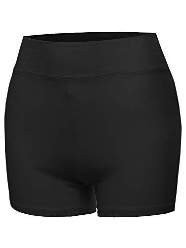 Basic Solid Premium Cotton High Rise Bike Shorts Black M