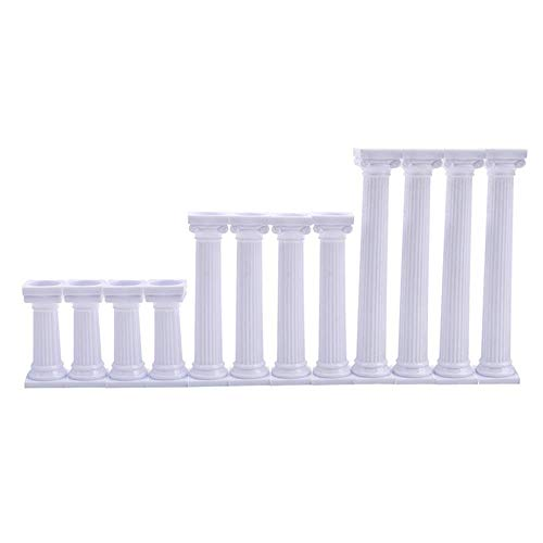 Youzpin 12Pcs 3 Size Roman Column Cake Tiered Stands, Fondant Cakes Tier Separator Support Stand,Multilayer Wedding Cake Decoration Support Tool Sets ()
