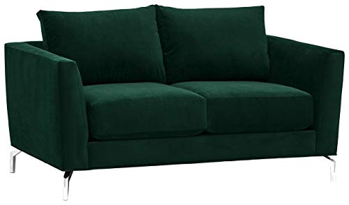 Rivet Emerly Mid-Century Modern Velvet Sectional Loveseat Sofa Couch, 63'W, Navy